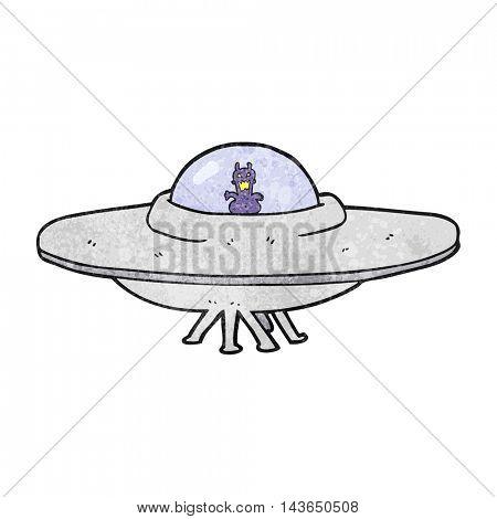 freehand textured cartoon UFO