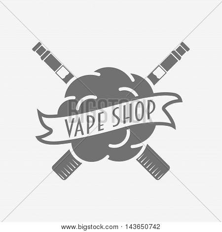 Vape Shop Badge, Logo Or Symbol Design Concept Isolated On White Background. Monochrome Vector Logo