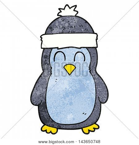freehand textured cartoon penguin
