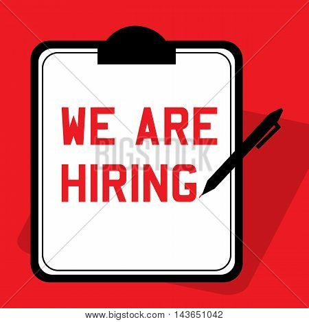 An announcement of 'we are hiring' advertisement includes clipboard and pen