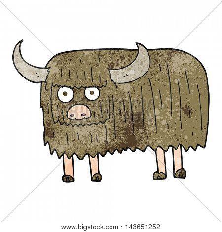 freehand textured cartoon hairy cow