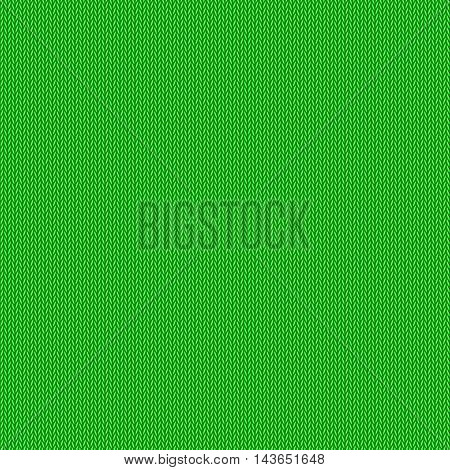 Knitted pattern, green background, vector editable resizable illustration
