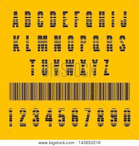 Stylish barcode typeface font. Stripped letters of barcode scanning. Custom font. Vector illustration
