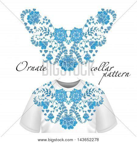 Neck print vector floral design. Fashion white lace collar. Vector illustration. Blue