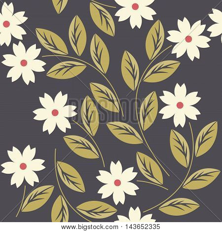 Elegant seamless pattern with white flowers can be used for surface textures, textile, kids cloth, pattern fills, web page backgrounds and more creative designs.