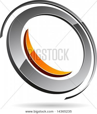 Glossy abstract symbol. Vector illustration.
