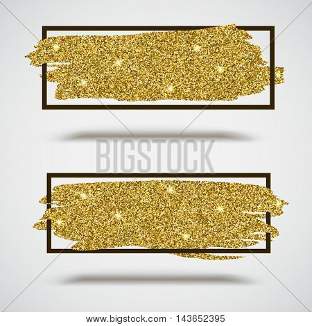 Gold sparkles, glitter background with frame. Set of banners for greeting card, certificate, luxury design and presentation
