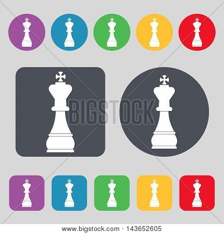 Chess King Icon Sign. A Set Of 12 Colored Buttons. Flat Design. Vector
