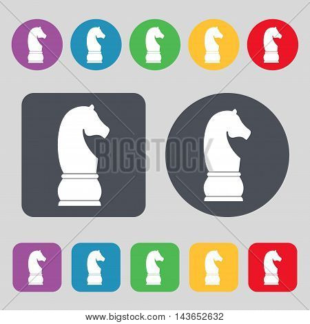 Chess Knight Icon Sign. A Set Of 12 Colored Buttons. Flat Design. Vector