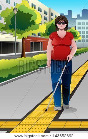 A vector illustration of blind woman walking on sidewalk