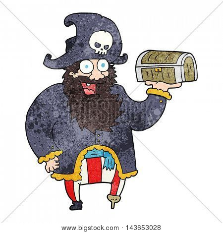 freehand textured cartoon pirate captain with treasure chest