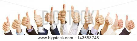 Thumbs up of a business people team as a motivation symbol