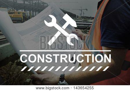 Construction Hammer Wedge Website Webpage Concept