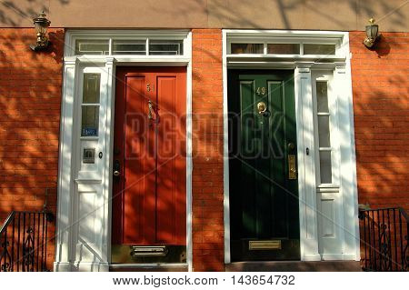 New York City - October 5 2005: Federal style doorways on mid-19th century homes on Horatio Street in Greenwich Village
