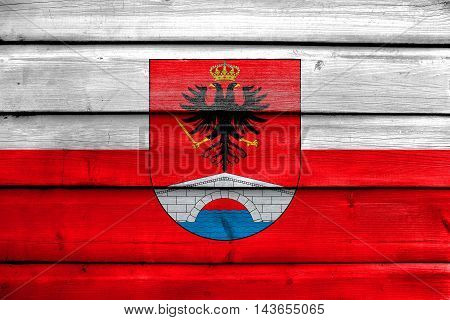 Flag Of Honda, Tolima Department, Colombia, Painted On Old Wood Plank Background