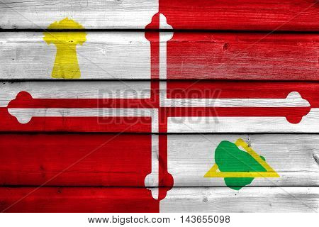 Flag Of Howard County, Maryland, Usa, Painted On Old Wood Plank Background