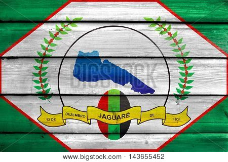 Flag Of Jaguare, Espirito Santo State, Brazil, Painted On Old Wood Plank Background