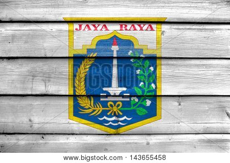 Flag Of Jakarta, Indonesia, Painted On Old Wood Plank Background
