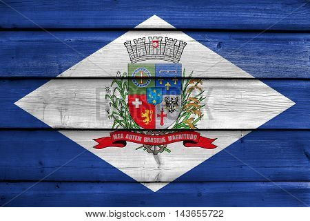 Flag Of Joinville, Santa Catarina State, Brazil, Painted On Old Wood Plank Background