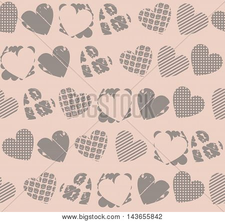 Endless pattern with cute hearts. Decorative endless texture template for  wrapping paper, packages, textile ,linen, tile and more designs.
