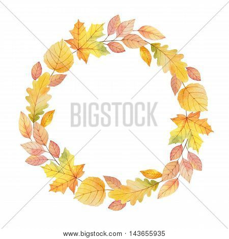 Watercolor round frame with colored leaves on a white background. Illustration for design banners, leaflets, posters, cards with space for your text.
