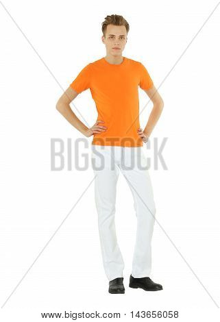 Handsome man standing on white background isolated