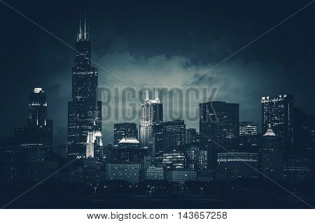 Chicago City Skyline Dark Blue Conceptual Color Grading. Chicago Illinois United States. Part of Downtown Skyline.