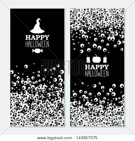 Happy Halloween vertical black banners with apple of the eye. Vector leaflet.