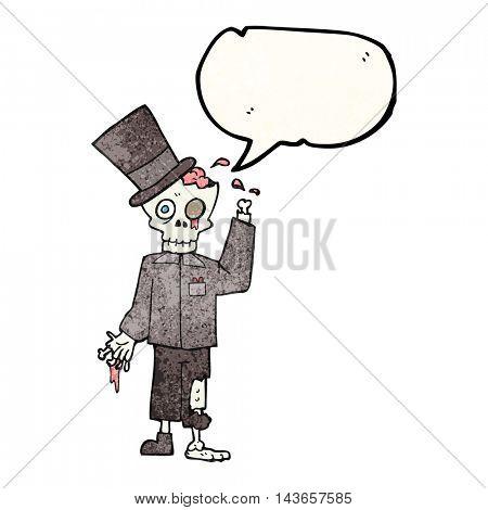 freehand drawn texture speech bubble cartoon posh zombie