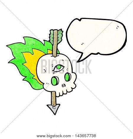 freehand speech bubble textured cartoon magic skull with arrow through brain
