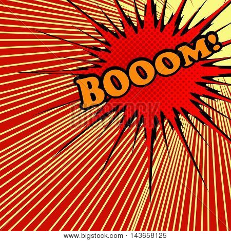 Boom comic text. Pop-art style. Vector illustration with red exploding star with halftone effect and rays. Explosion template