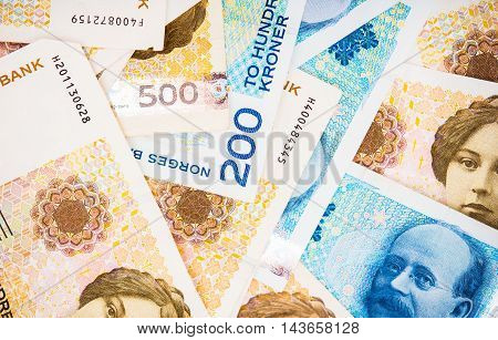 Krone Banknotes Closeup Photo. Norwegian Krone Currency.
