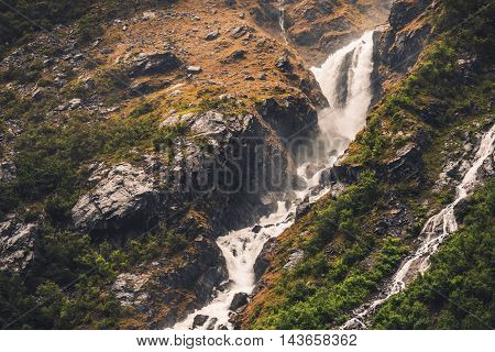 Norway Glaciar Waterfall Scenery. Mountain Landscape. Norway Europe.