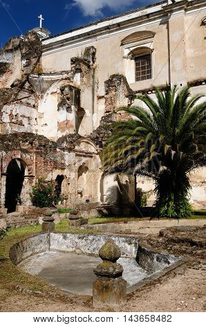 Ruins in the course of an earthquake in in the Antigua town in Guatemala Central America