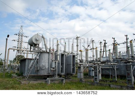 Electrical power transformer in high voltage substation 110 kilovolts