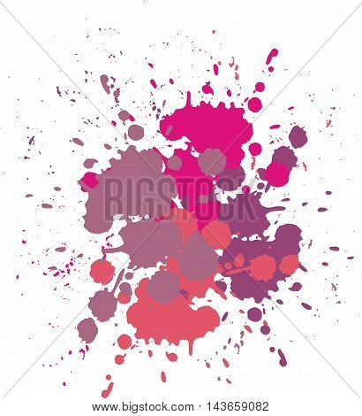 Blobs and splashes of paint. Color pink paint splashes background Vector illustration