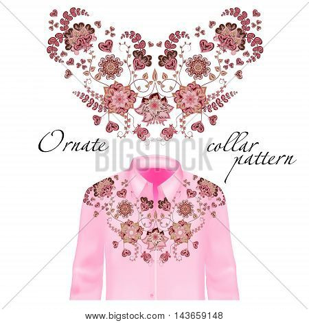Floral curl neck embroidery for blouses. Vector, illustration. Decoration for clothes. Front collar design. Pink and brown on delicate pink shirt mockup.