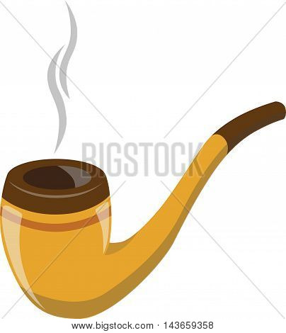 Vector brown smoking pipe. Vector modern flat design icon with smoking pipe.