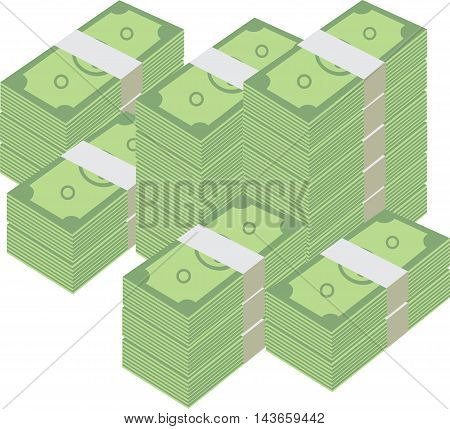 Stacked pile of cash. Hundreds of dollars in flat style isometric illustration. Big money concept. Stacked pile of hundred us dollar cash. Big pile of cash.