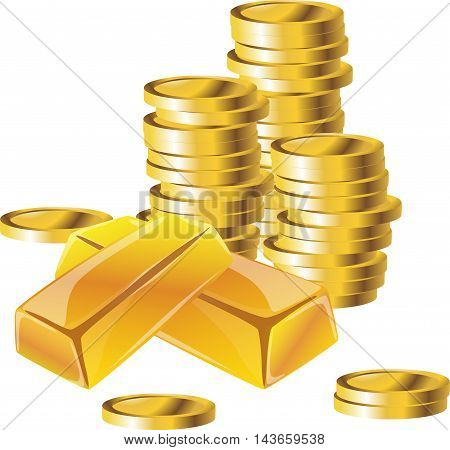 Gold bars or ingot and coins. Flat style isometric illustration. EPS 10 vector. 3d