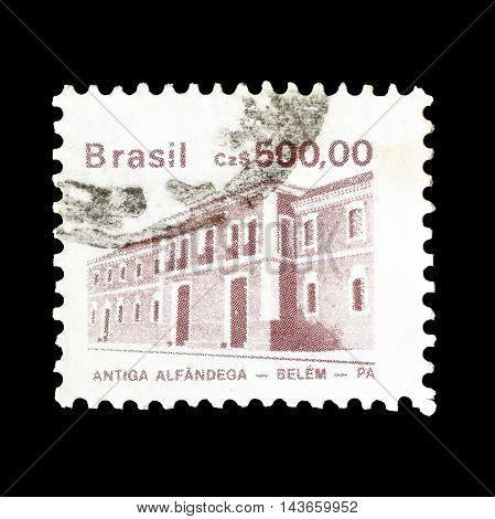 BRASIL - CIRCA 1986 : Cancelled postage stamp printed by Brasil, that shows Antiga Alfandega.