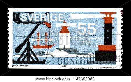 SWEDEN - CIRCA 1969 : Cancelled postage stamp printed by Sweden, that shows lighthouses.