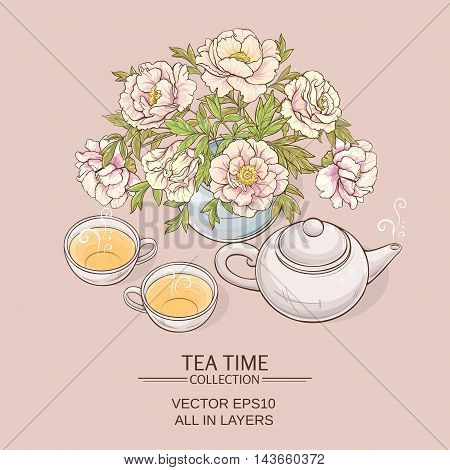 Illustration with cups teapot and peonies on color background