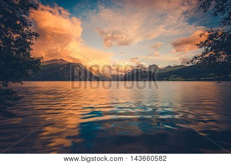 The Norwegian Fjord Sights. Scenic Scandinavian Fjords at Sunset. Norway Europe.