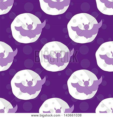 Seamless pattern halloween bats on moon purple