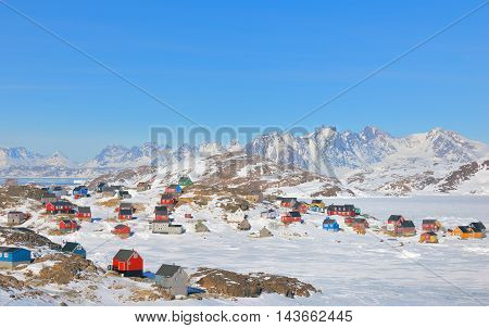 Colorful houses in small town of Greenland