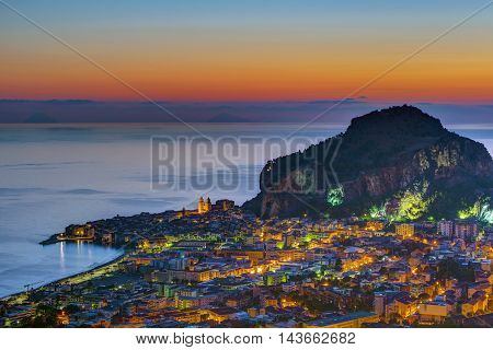 The beautiful city of Cefalu in Sicily just before sunrise