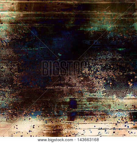 Vintage torn texture or stylish grunge background with ancient design elements and different color patterns: yellow (beige); brown; black; green; blue