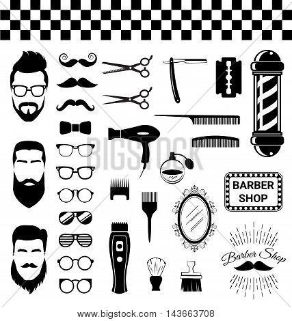 Set of vintage barber shop items on white background