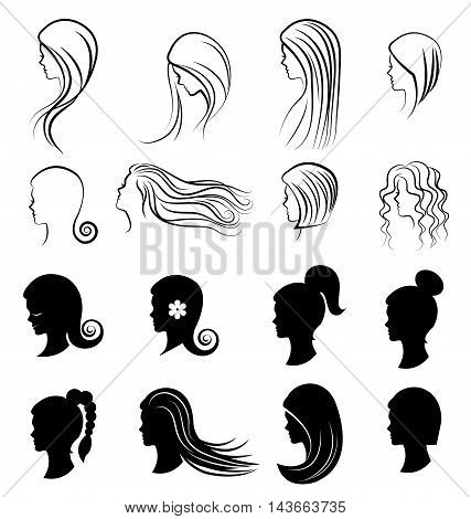 Set of women Hairstyles for beauty concept on white background